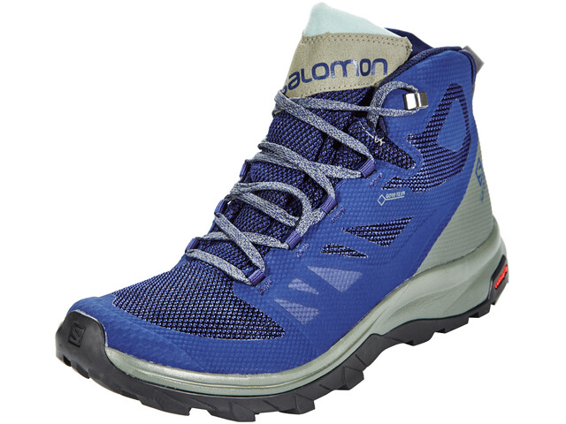 Salomon OUTline Mid GTX Shoes Men Medieval Blue/Castor Gray/Green Milieu